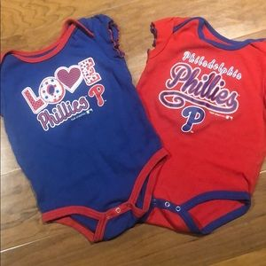 Set of 2 Phillies baby girl onesies